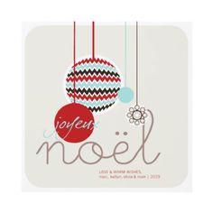 Joyeux Noel Festive Zig Zag Holiday Christmas Announcements by fat_fa_tin