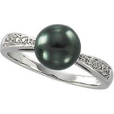 14kt White 1/10 CTW Diamond & Tahitian Pearl Ring