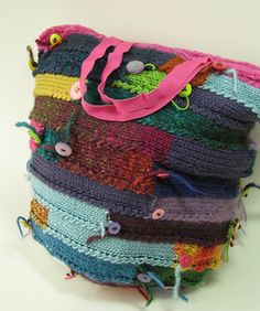 Spiral bag knitted in a handmade multi-yarn
