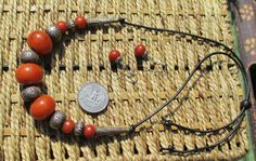 Hill Tribe Silver Recon. Amber Ethnic Tribal Necklace Recon.Amber SS Beaded Collectable Vintage Amber Greek Leather Necklace Earrings Set
