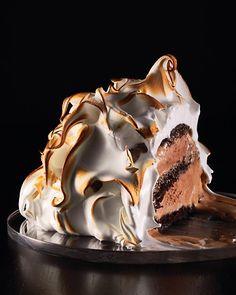 Baked Alaska with Chocolate cake and Ice cream
