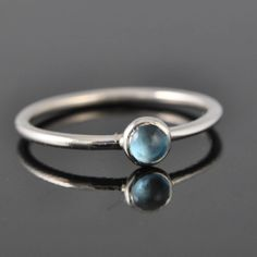 December Birthstone stacking Blue topaz ring by JubileJewel, $35.00