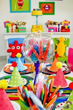 Little Monster Party! from Kara's Party Ideas Little Monster Birthday, Monster Birthday Parties, Birthday Fun, First Birthday Parties, Birthday Party Themes, First Birthdays, Birthday Ideas, Baby First Birthday, Party Accessories
