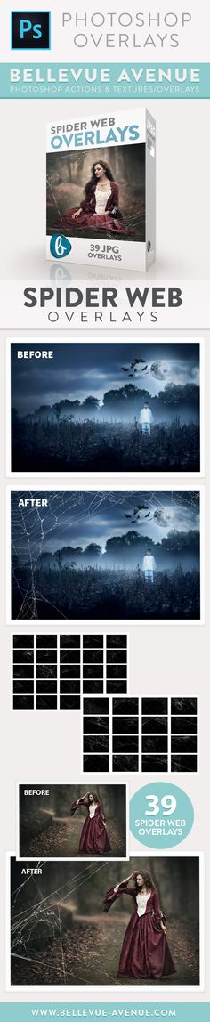 Creepy cobwebs for your spooky images: The Spider Web Overlays from Bellevue Avenue | https://bellevue-avenue.com/products/spider-web-overlays