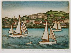 The view across to the city (almost!) from Devonport. That could be Ilana, my grandparent's yacht, in the foreground. Mary Taylor again. Nz Art, Rare Birds, Marker Art, Bird Prints, Fine Art Gallery, Hand Coloring, Printmaking, New Zealand, Folk Art