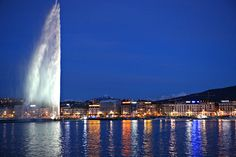 #Geneva, #Switzerland is one of the most beautiful cities I have ever visited. The Jet d' Eau is something to behold in the daytime but at night, all lit up, I think it is quite spectacular. The water shoots up to about 140 meters.