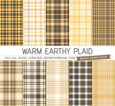 Earthy Brown + Tan Plaid Digital Paper by MochiPaperShop #etsy #plaid #papercrafts