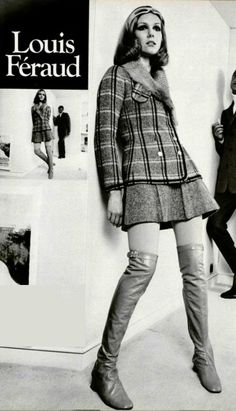 drop skirt to mid-knee. Sixties Fashion, Retro Fashion, High Fashion, Vintage Fashion, Womens Fashion, Patti Hansen, Lauren Hutton, 60s Vintage Clothing, Vintage Outfits