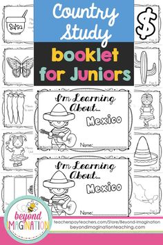 Mexico country study booklet for juniors by Beyond Imagination. Perfect for teaching young ones fun facts about Mexico for a social studies lesson. This booklet includes basic information about:  -The Mexican flag -The map of Mexico  -Mexico's official name  -The official language of Mexico  -Foods Mexican's introduced to the world  -When Mexican children get presents  -What it is home to  -What Mexican food is like  -Mexican currency  -Spanish sayings.