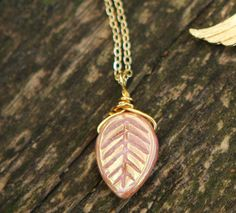 Rose Pink Gold Leaf Czech Glass Necklace Jamie's by JamiesQuilting, $12.00