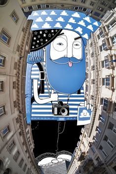 Artist Thomas Lamadieu takes vertical photos of the areas between buildings, then creates an illustration of characters to fill in the space.