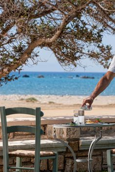 Ouzo by the Sea in Naxos, Greece   <3