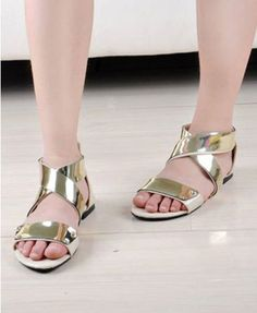 Gold Metal Sheet Cross Peep Toe Leather Flat Sandals