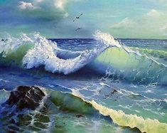 Ocean waves painting is available in 5 different sizes. No Wave, Ocean Scenes, Beach Scenes, Landscape Art, Landscape Paintings, Sea Art, Seascape Paintings, Ocean Waves, Ocean Ocean