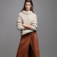 """A suede skirt and chunky statement knit are two cool-weather essentials you'll want to #LOVEWEARREPEAT. Look to contemporary brand @Tibi for the ultimate…"""