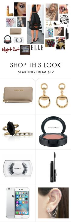 """""""night out"""" by sukhmungrewal18 ❤ liked on Polyvore featuring Max Factor, MICHAEL Michael Kors, Gucci, Chloe + Isabel, MAC Cosmetics, Otis Jaxon and Lipstick Queen"""