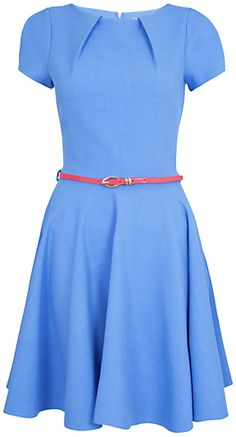 Closet Cap Sleeve Flared Belted Dress, Blue on shopstyle.co.uk