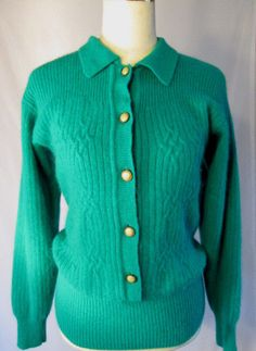 Vintage 80s CASUAL CORNER Emerald Green Lambswool Fancy Button Sweater Size S #CasualCorner