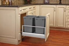 Rev-A-Shelf's 5149 series adds a pinch of luxury to your trash. The sleek anodized aluminum frame glides in and out on the patented soft-close slide system. Door mount brackets included and can adjust to almost any door style. Fits B18 and B21 cabinets. New Kitchen Cabinets, Kitchen Layout, Diy Kitchen, Kitchen And Bath, Kitchen Ideas, Kitchen Designs, Cheap Kitchen, Wooden Kitchen, Very Small Kitchen Design