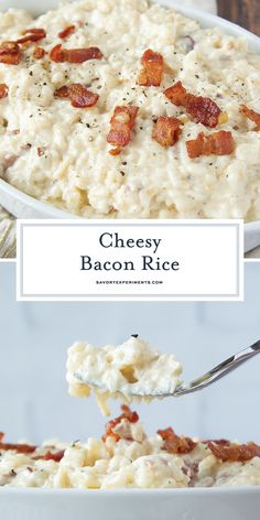 When you just need a big scoop of comfort, this EASY Cheesy Bacon Rice is perfect! A quick  simple side dish full of flavors the whole family will enjoy. #cheesybaconrice #easysidedish #easyricerecipes #cheesyrice www.savoryexperiments.com