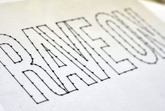 * string art - first outline the letters with the string, then criss-cross strings to fill them in as desired....