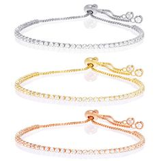 Gold-Plated Cubic Zirconia Adjustable Tennis Bracelet – Assorted Finishes