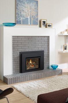 Fireplace Inserts: gas fireplace insert, electric fireplace insert and wood burning fireplace Insert Corner Electric Fireplace, Corner Gas Fireplace, Build A Fireplace, Cast Iron Fireplace, Home Fireplace, Brick Fireplace, Fireplace Ideas, Stacked Stone Fireplaces