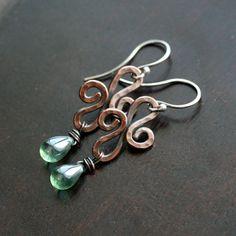 Handmade copper dangle earrings swirl by MimiMicheleJewelry