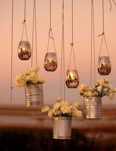 tin can hanging wedding decor - love this idea!  ~  we ❤ this! moncheribridals.com
