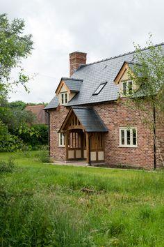 Border Oak - Brick Pearmain Cottage - Cottage homes Brick Cottage, Cottage Exterior, Modern Farmhouse Exterior, Dream House Exterior, Cottage Homes, Cottage Porch, Home Building Design, Building A House, Build House