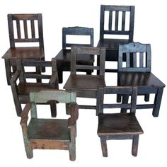 #47-118 Collection of 19th c. Guatemalan children's chairs  10x9x14H – 13.5x12x24H