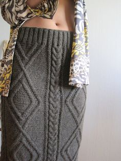 Hand Knitted Skirt Chunky Cable Pencil Skirt Woman Skirt Brown Autumn Winter Clothing Bohemian