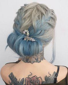 Hair Color Blue, Hair Art, Hair Videos, Updos, Wedding Hairstyles, Dreadlocks, Photo And Video, Hair Styles, Amazing
