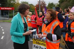 Frances O'Grady, TUC General Secretary, visits the 'Fair Pay in Higher Education' picket line at the University of the West of England, Bristol, on 31 October 2013. Strikes took place across the country to protest for fair pay for workers in higher education.