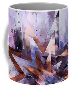 Festive Coffee Mug featuring the digital art Festive stars abstract in purple and cinnamon brown by Western Exposure. | Our ceramic coffee mugs are available in two sizes: 11 oz. and 15 oz. Each mug is dishwasher and microwave safe.