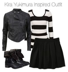 """""""Teen Wolf - Kira Yukimura Inspired Outfit"""" by staystronng ❤ liked on Polyvore featuring Aéropostale, Soda, skirt, Boots, leatherjacket, tw and Kirayukimura"""