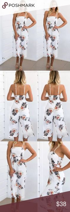 Sexy sleeveless jumpsuit Sleeveless Capri flowered jumpsuit. Knit Fabric:20% Cotton 80% Spandex. Please refer to size chart. Comes small-xl Pants Jumpsuits & Rompers