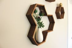 Make awesome mid century modern honeycomb shelves for less than $10 using popsicle sticks! See this and other projects at Talk of the Town link party at Knick of Time - KnickofTime.net
