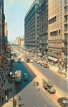 "Old Chicago 1950s State street. When we couldn't find something, as kids, my mother would always tell us it was ""walking down State Street. "" We just thought it was an odd expression she used until we discovered the origins. She had grown up in Chicago."
