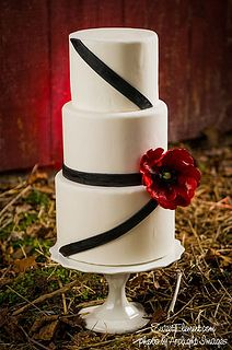Modern Wedding Cake - Black Stripes and Red Poppy by SweetElement, via Flickr