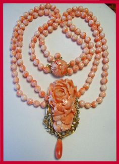 Necklace creation by Talya D, from antique coral. Set in gold with diamonds.