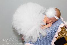 white tulle tutu matching headband newborn photo от BBMCreations, $28.00