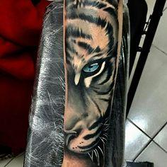 3ab3b27f1 tiger #ink #art Calf Tattoo Men, Forearm Tattoo Men, Tiger Tattoo Sleeve
