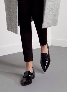 Patent pointy classy loafers in black - classy work shoes