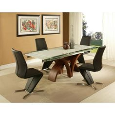 Pastel Fountain Valley Walnut Extendable Dining Table
