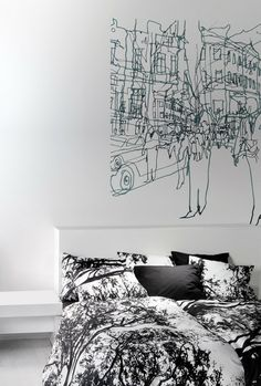 Hetkia Wall Mural Black/Grey/White