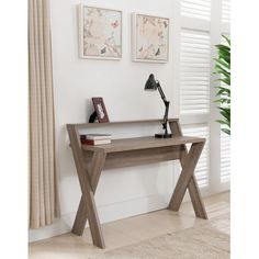 Furniture of America Intersecting Home Office Desk ($145) ❤ liked on Polyvore featuring home, furniture, desks, shelving furniture, slim desk, computer furniture, mdf shelving and computer shelf