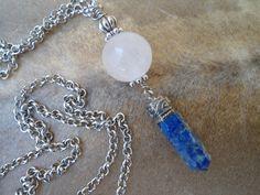 Rose Quartz Lapis Lazuri Pendant Rose Quartz Sphere Yoga Jewelry Lapis Lazuli Point Necklace Symbolic Amulet Spiritual Jewelry Compassion OM by SacredSymbolStudios on Etsy