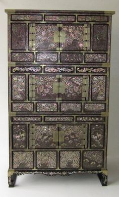 Antique Korean Mother of Pearl Inlay Chest.