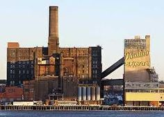 The Domino Sugar Factory, Williamsburg, Brooklyn. Sugar Factory, Apartment Projects, Industrial Architecture, New York, Old Building, Affordable Housing, Old Ads, Willis Tower, Vintage Images